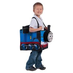 Kids Thomas the Tank Engine Ride in Train Costume, Boy's, Blue