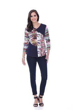 Parsley & Sage Denim Multi-Colored 3/4 Sleeve Top | PJ's Unique Peek | Women's Clothing Boutique | FREE SHIPPING!