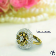 Malini Diamonds Flower Shape Designer Ring is a halo on your finger. Order now and get it delivered at your doorstep from plushvie. Shop Jewellery on EMI and pay at ease . Diamond Stacking Rings, Diamond Jewelry, Gold Jewelry, Fine Jewelry, Silver Rings, Jewellery, Diamond Flower, Diamond Design, Flower Shape