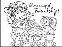 Share A Cup Of Friendship Coloring Picture For Kids