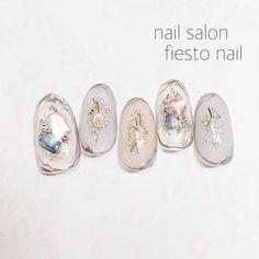 All season / hand / hologram / lame / clear-nail design of fiesto – Nails Red Nail Designs, Clear Nail Designs, Beautiful Nail Designs, Korean Nail Art, Korean Nails, Japanese Nail Design, Japanese Nail Art, Asian Nails, Japan Nail