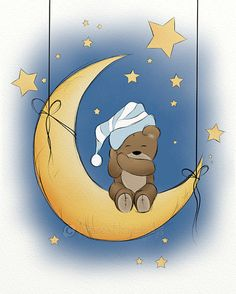 This little bear is enjoying a restful sleep under a sky filled with stars.The teddy bear artwork would be a great addition to your childs