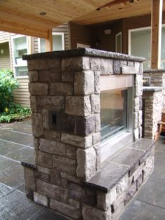 outdoor fireplace, brick, gray brick, outdoor living, large ...