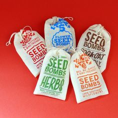 """Great stocking stuffers! """"5 Seed Bombs for Guerilla Gardening."""" from visualingual at etsy. $35.00"""