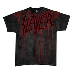 Slayer Raining Blood Mens Tee - Rock out with this Slayer Raining Blood Mens T-Shirt Size Medium! This product is a grey t-shirt featuring the red Slayer logo dripping with blood. 100% Cotton.