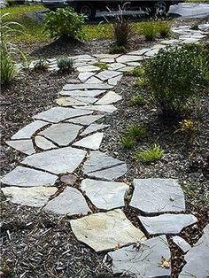 flagstone with mulch - a simple, low-maintenance landscaping idea