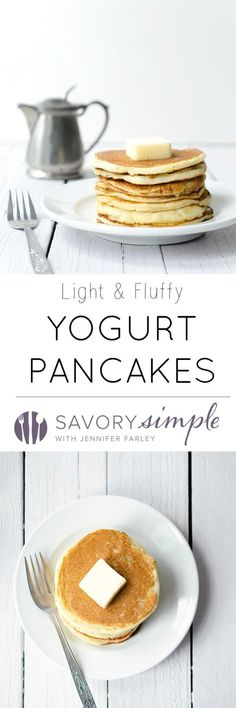 These easy yogurt pancakes are a delicious protein packed breakfast! Get the recipe from SavorySimple.net.