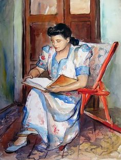 """""""Woman reading"""" or """"La Lectura"""" by Dr. Teodoro Núñez Ureta - Peruvian painter and a writer, noted for an original and distinctive style in Latin American art. His work often. Reading Art, Woman Reading, Reading Nook, Edward Hopper, Books To Read For Women, Book People, Portraits, World Of Books, I Love Books"""
