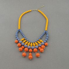 Orange combination necklace,holiday party,bridesmaid gifts,Beaded Jewelry,wedding necklace,turquoise color