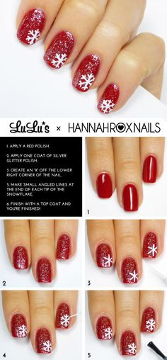 Lulus.com how-to: Red Glitter Snowflake Nail Tutorial - perfect for the festive season...x
