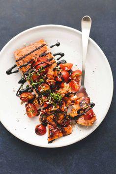 Honey Balsamic Bruschetta Salmon | lecremedelacrumb.com