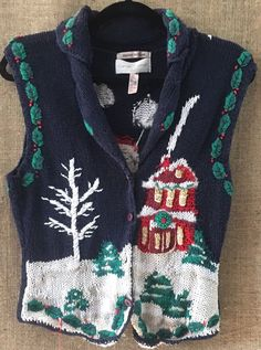 CASUAL CORNER HAND KNIT UGLY Christmas Sweater VEST Womans M Button Front EUC #CasualCorner #VestSleeveless #Christmas