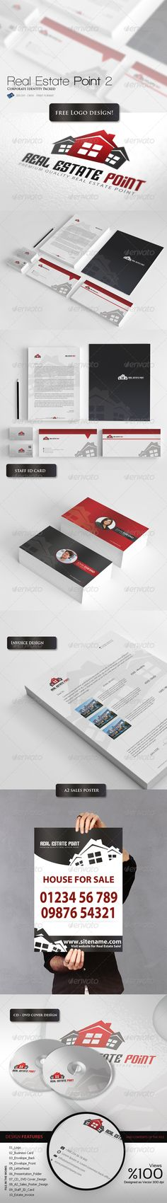 Real Estate Point - Corporate Identity Packed 7  #GraphicRiver            DESiGN FEATURES  300 DPI / CMYK   Fully editable & totally layered  .PSD files  Print format is set  You can integrate with unlimited color combinations  Font Download : .dafont /sf-archery-black.font  Screen mockup : graphicriver /item/stationery-branding-mockup/2017868  DESiGN FiLE  01_Logo / Working size: 2524 px – 1308 px  02_Business_Card / Working size: 9.5×5.7 cm Print Dimensions  03_Envelope_Back / Working…