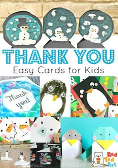 Super Simple Thank You Cards this Winter - Red Ted Art - Make crafting with kids easy & fun