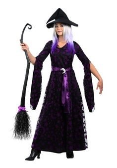 This exclusive Purple Moon Witch costume for women features unique details on this classic Halloween costume idea!