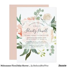 Shop Midsummer Floral Baby Shower Invitation created by RedwoodAndVine. Personalize it with photos & text or purchase as is!