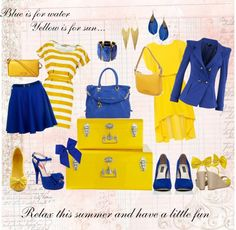 """""""Travel Italian, Dress Italian with Blue and Yellow"""" by lisbethusala on Polyvore"""