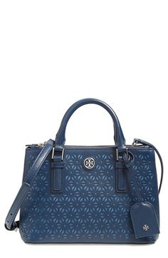 Tory Burch 'Robinson - Micro' Perforated Leather Double Zip Tote available at #Nordstrom