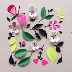 Paper Crafts = Hanna Nyman Paper poetry by Stockholm based designer and print designer Hanna Nyman. WebShop on website. #paper #paperart #floral #flowers #butterfly #dscolor #neon #spring #flora #illustration