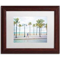 Trademark Fine Art Florida Beach Walk Canvas Art by Preston White Mat, Wood Frame, Size: 11 x 14