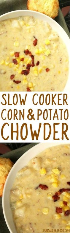 everyone asked me for this recipe! -- Corn and Potato Chowder Recipe for the Crock Pot Slow Cooker everyone asked me for this recipe! -- Corn and Potato Chowder Recipe for the Crock Pot Slow Cooker Crock Pot Slow Cooker, Crock Pot Cooking, Slow Cooker Recipes, Cooking Recipes, Oats Recipes, Crock Pots, Recipes For Soup, Recipes For Potatoes, Vegetarian Slow Cooker