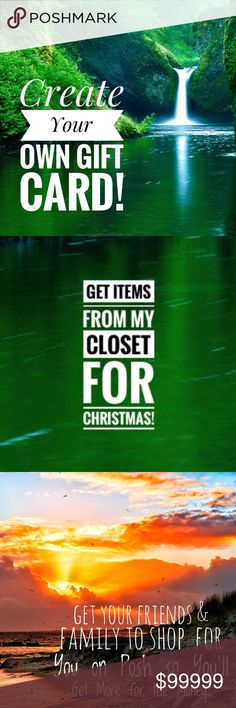 "Create a Wishlist on Posh for Friends & Family! I want my family to buy my Xmas gifts on Posh so I'll get more for the $. Since I can't have them buy a gift card I figured out how to get what I want from your GREAT closets!  You can do the same to shop my closet as well as other closets! Simply download the app on their phone & set up an account for them & add YOUR ""likes"" as a wishlist. Show them how it works & use your code in order to get recruitment dollars! I'm doing this for my husband…"