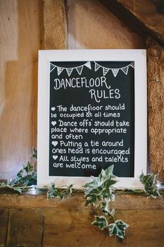 Dance floor Rules | Ellie Gillard Photography | http://www.rockmywedding.co.uk/an-english-country-wedding/
