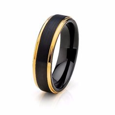 6mm Black with Yellow Gold Tungsten Mens Wedding Band