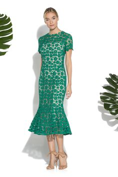 Jade Guipure Lace Park Midi Dress