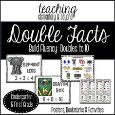 Doubles facts posters and activities! Scoop it up for a sale today for 50% off! Search #mondaymadness on TpT to find it!    #primarymath #doubles #doublesposters #math #teaching ##iteachkindergarten #iteachfirst #bereadywithtpt #btssale #backtoschoolsale #backtoschoolsale2017