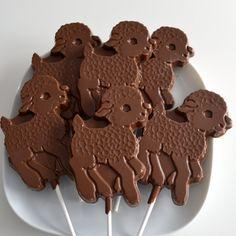 Chocolate Lamb Lollipops 12 Lollipops by NicolesTreats on Etsy, $36.00