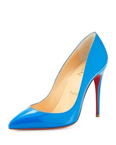 X2J5A Christian Louboutin Pigalle Follies Point-Toe Red Sole Pump, Blue