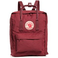 Fjallraven Kanken Backpack (€66) ❤ liked on Polyvore featuring bags, backpacks, ox red, fjallraven bag, fjällräven, zip bag, wrap bag and fjallraven rucksack