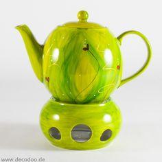 Teekanne mit Stövchen in Grün # Green #teekanne