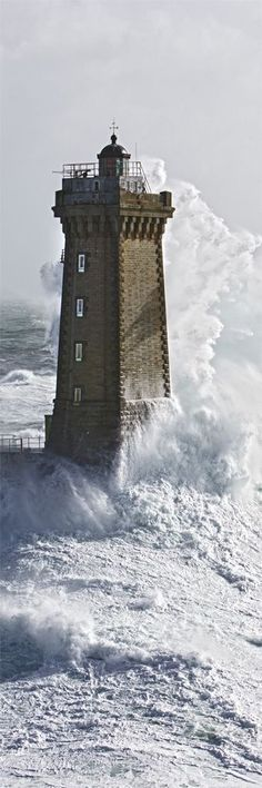 Lighthouse - La Vielle lighthouse also know as 'The Old Lady' or 'The Wrass' is in Brittany, France. It was constructed in - photo by Philip Plisson Old Poster, Lighthouse Pictures, Stormy Sea, Waves, Beacon Of Light, Water Tower, Belle Photo, Celtic, Coastal