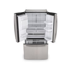Shop GE 27.7-cu ft French Door Refrigerator with Dual Ice Maker (Stainless Steel) ENERGY STAR at Lowes.com