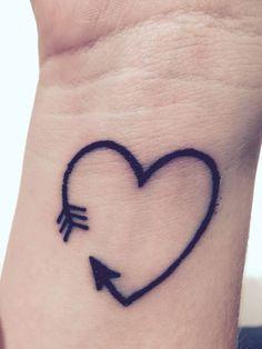 15 Amazing Arrow Tattoos for Females: . Heart Arrow Tattoo on wrist – A cute tiny heart tattoo for girls; Tiny Heart Tattoos, Mini Tattoos, New Tattoos, Tattoos For Guys, Flame Tattoos, Small Arrow Tattoos, Arrow Tattoos For Women, Cute Tattoos For Women, Tattoo Women