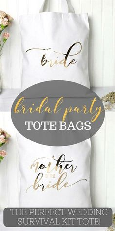What better way to organize your pre-wedding errands or pack your wedding day survival kit with all the little things you need. Each soft white cotton comes with a pretty metallic gold font and…More Bridesmaid Gifts From Bride, Bridesmaid Makeup Bag, Bridesmaid Tips, Bridesmaid Gift Bags, Bridesmaids And Groomsmen, Wedding Bridesmaids, Bridesmaid Proposal, Wedding Survival Kits, Best Bridal Shower Gift