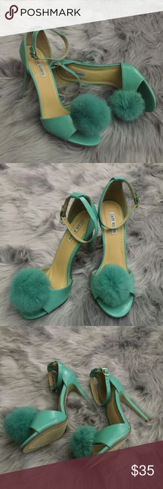 Cape Robbin Mint Green Aless Heels With Pom Pom Retro CHIC!!! NWOT A pom-pom peep toe lends playful design to this pump lifted by a trim stiletto heel for a boost of dramatic height. A colorful way to add pizzazz to any outfit.  3'' heel Buckle closure Man-made upper Rubber sole Imported cape robbin Shoes Heels