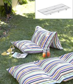 Turn 3 pillows into an outdoor lounge.