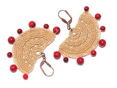 Crocheted Dangle Earrings Ivory Red Coral OOAK by PinaraDesign, $20.00
