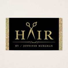 Sparkling Gold Glitter Hair Salon Appointment Card Double-Sided Standard Business Cards (Pack Of Hair Salon Names, Beauty Salon Names, Hairstylist Business Cards, Salon Business, Beauty Business Cards, Custom Business Cards, Glitter Hair, Red Glitter, Glitter Outfit
