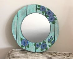 Rustic home decor mirror, farmhouse wall decor, decorative hand painted mirror, re cycled wooden mirror, lilac roses boho shabby mirror Cottage Mirrors, Farmhouse Mirrors, Home Decor Mirrors, Farmhouse Wall Decor, Shabby Chic Table Lamps, Shabby Chic Wall Decor, Driftwood Mirror, Lilac Roses, Mirror Painting