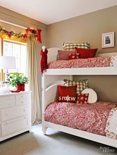 Adding holiday cheer to a bedroom can be as simple as changing the sheets. Showcase cheerful red-and-white comforters and red or green throw pillows, and tie a bright scarf to the bed post for a festive finish. For a look that's both merry AND bright, drape a strand of Christmas lights over the bedroom window. Start to finish: 10 minutes to change the sheets; an additional 10 to hang Christmas lights./