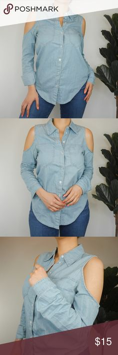 Open Shoulder Button Up Denim Top 🌫✍🏼Long Sleeve button up denim shirt with open shoulders detailing for a super cute look. Sleeves can be worn as a long sleeve or cuffed in.   🌫🕶 Pair it with some denim for a denim on denim look, tucked in with some shorts and a belt to accessorize or tucked in with a denim skirt!   🌫🔎In great condition - worn only a handful of times.  🌫📦 Ships within 1 business day | Bundle & save 10% off 2 or more items from my closet.   🌫❔Questions? Message me…