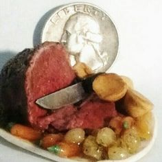 dollhouse miniature 1:12 food Roast Beef and Yorkshire Board by Robin J Andreae