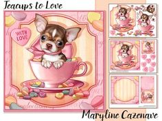 Teacups to Love on Craftsuprint designed by Maryline Cazenave - 3 page mini kit, including 7x7 topper, decoupage, blank insert, 1gift tag and 1 foldable gift tag and 8 greeting tiles: Hugs