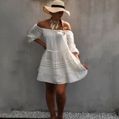 Fashion Statements by Q    White bohemian dress      #ootd #outfit #blog #blogger #fashionblog #fashionblogger #white #bohemian #hat #necklace #summer