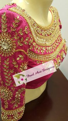 beautiful design for bridal blouse. it shows a gorgeous stone work look for wedding women. Bridal Blouse Designs, Saree Blouse Designs, Blouse Patterns, Blouse Styles, Designer Wear, Designer Dresses, Hand Work Design, Maggam Work Designs, Indie
