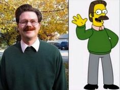 Who would have thought that some of cartoons strangest characters actually have real life look-alikes? Ned Flanders.
